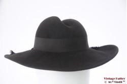Wide ladies hat LadyLike dark grey felt 55 (S)