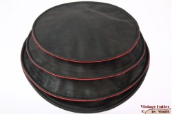 Ladies Pagode-hat The Madhatter blackish grey - red faux leather 54-57 [New]