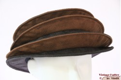 Ladies Pagode-hat The Madhatter blackish grey - caramel faux leather 54-57 [New]