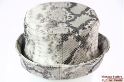 Ladies bucket hat The Madhatter white grey snake-look PVC 56 [New]