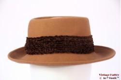 Ladies hat cognac orange brown felt 58