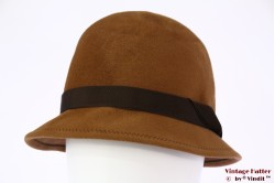 Ladies cloche hat Aucini orange brown velour 58