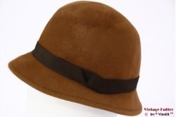 Ladies cloche hat Aucini orange brown velour 58