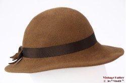 Ladies hat soft brown felt 55 (S)