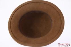 Ladies hat soft brown felt 55 (S)