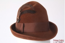 Ladies hat Morreton brown velour with feathers 54 (XS)