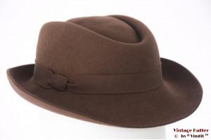 Ladies hat brown felt 55 (S)