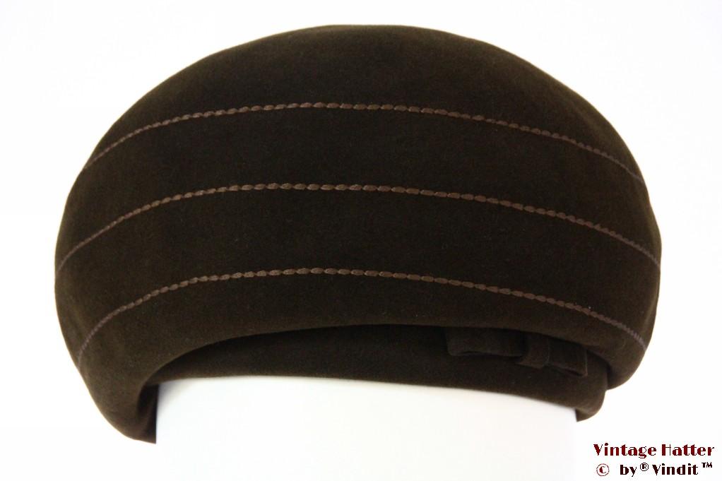 Ladies hat brown velour with designer stitchings 56