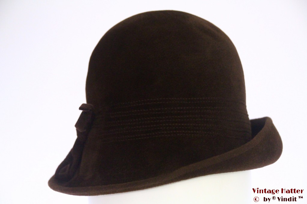 Ladies hat Midinette brown velour 55 (S)