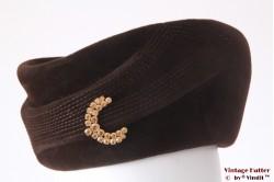 Cocktailhoed Der Damenhut donker bruin velour 56