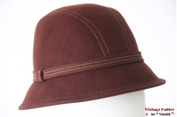 Ladies bucket hat brown felt 57