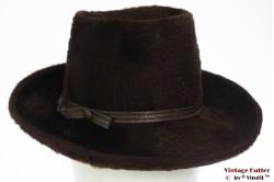 Ladies hat dark brown fur felt 55