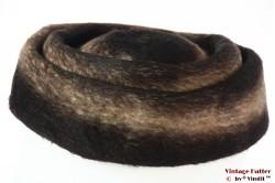 Ladies pillbox hat Tonak brown beige black fur felt 56