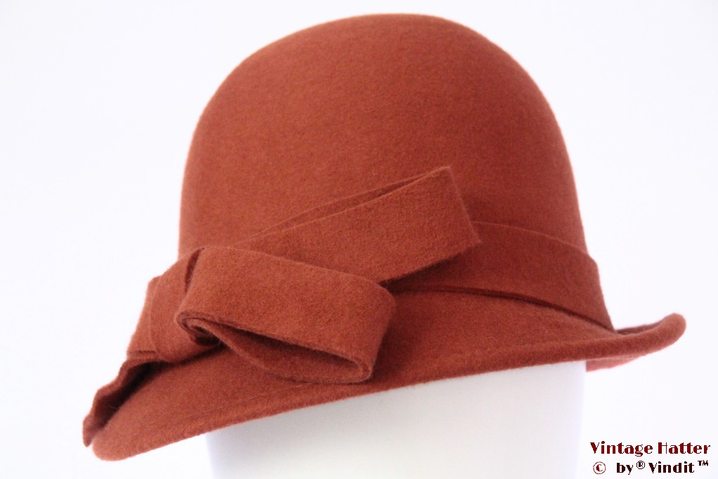Ladies hat Hawkins orange brown felt 54 - 58 [new]