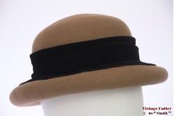 Ladies hat MaVo beige brown with black velvet band  57