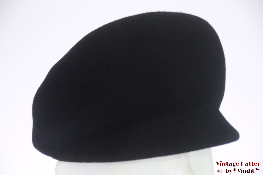 Cap-type ladies hat black felt 53 (XXS)