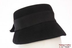 Cloche hat black felt 54 (XS)