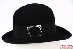 Ladies hat black felt with buckle 55 (S)
