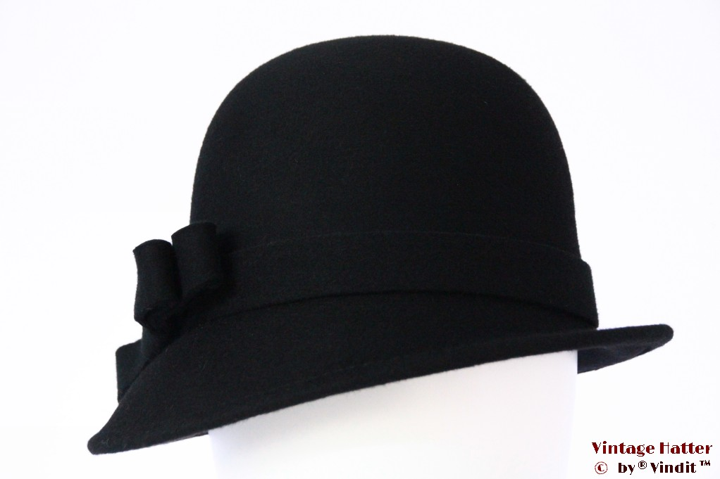 Ladies hat Hawkins black felt broad bow 54 - 58 [new]