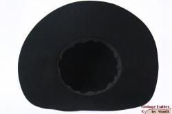 Wide floppyhat black felt 58
