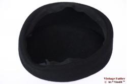 Ladies Pillbox hat black fur felt 55 (S)