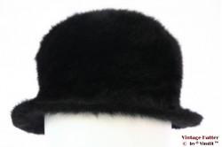Flexibele dameshoed zwart angora 56