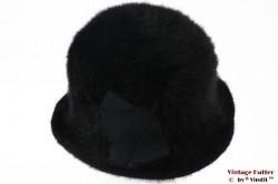 Flexible ladies hat black angora fur 56