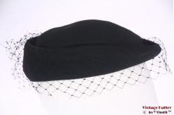 Ladies pillbox hat black with half veil 55 (S)