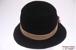 Ladies hat Lembert black felt with beige ribbon 56