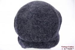 Flatcap blue wool windstopper with earwarmer 56-60