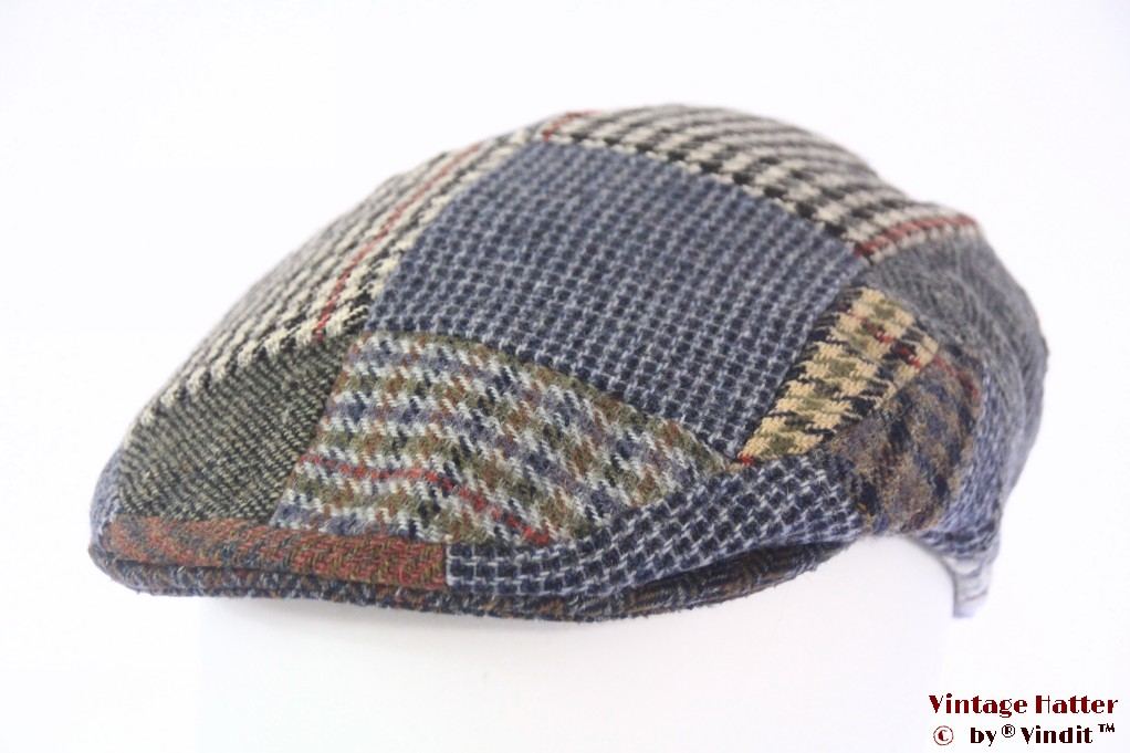 Flatcap Quills blue grey wool tweed patchwork 57