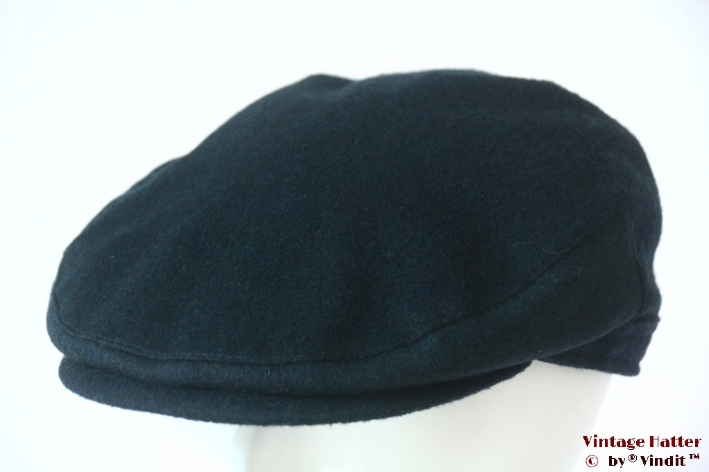Flatcap dark turkois cashmere wool with earwarmer 61 (XXL)