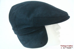 Flatcap dark turkois cashmere wool with earwarmer 61 (XXL)