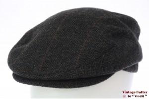 Flatcap dark grey herringbone 56