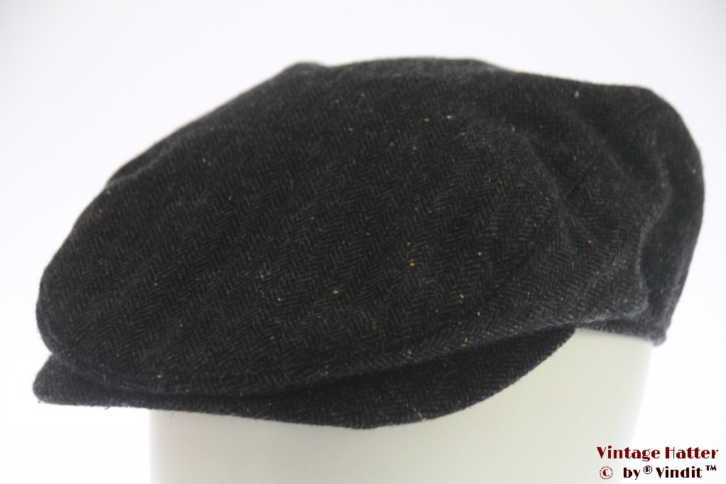 Flatcap dark grey herringbone size adjustable 55-59