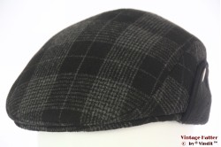 Flatcap black grey plaid preshaped with earwarmer 57-58