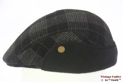 Flatcap black grey plaid preshaped with earwarmer 57-58
