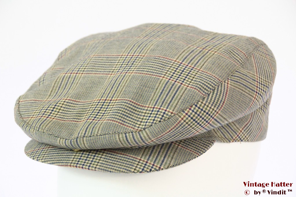 Summer flatcap Handworked greengrey blue cotton 56-57