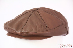 Paperboy cap brown leather 58