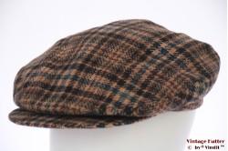Platte pet Borsalino bruin en blauw tweed lange klep 56,5