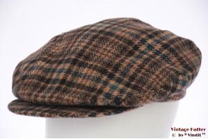 Flatcap Borsalino brown with blue tweed long beak 56,5
