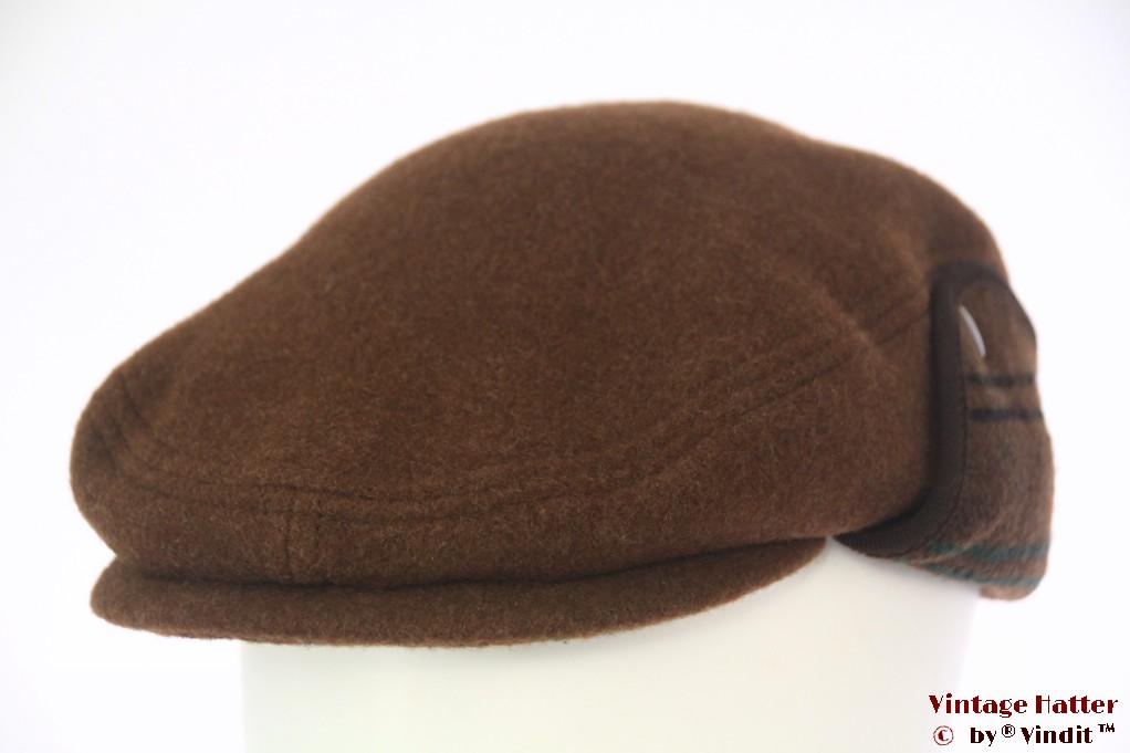 Flatcap brown soft wool with earwarmer 59