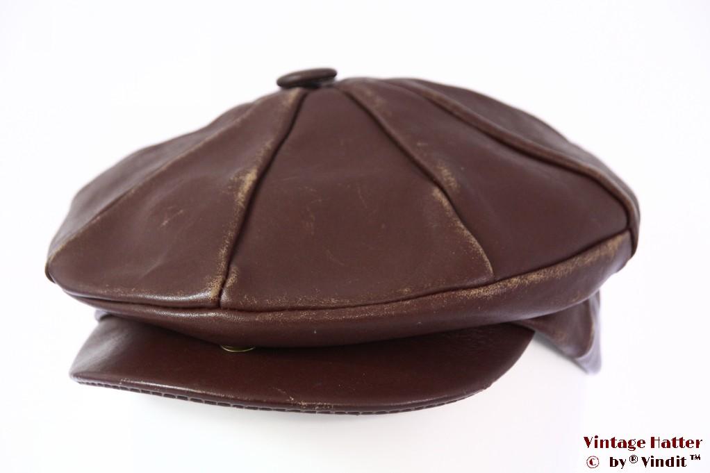 Paperboy cap redish brown rough leather 56