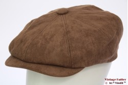 Paperboy cap Hawkins light brown faux suede 61 [new]