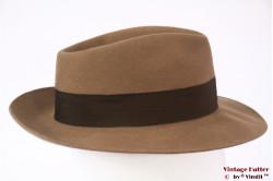 Bogart-type fedora diamond shaped beige brown felt 57