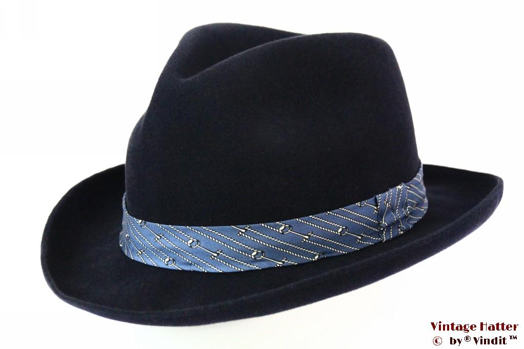 Fedora dark blue velour with light blue ribbon 57