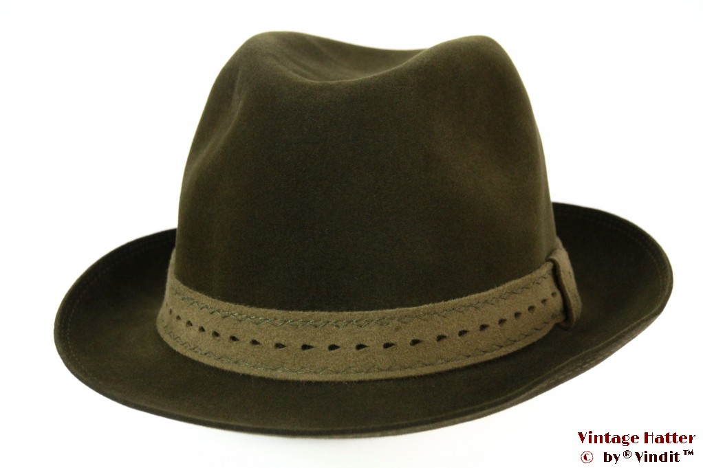 Hunting fedora Wegener dark green brushed felt 56