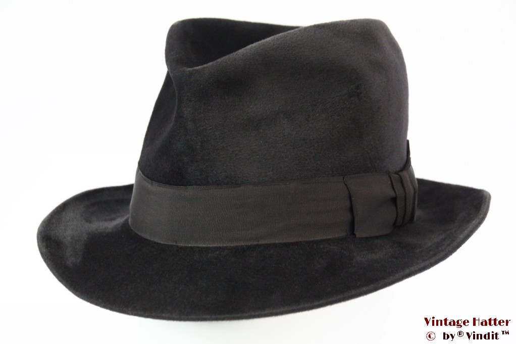 Fedora Echtes Velour dark grey 57