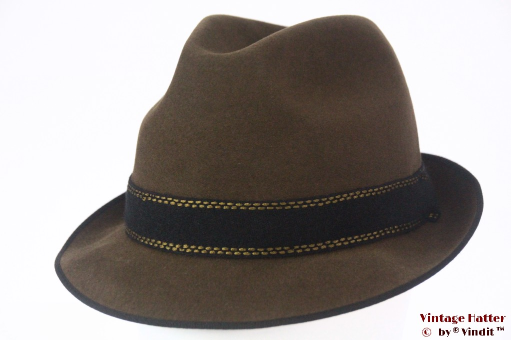 Classic trilby Exquisit greenish brown felt 58
