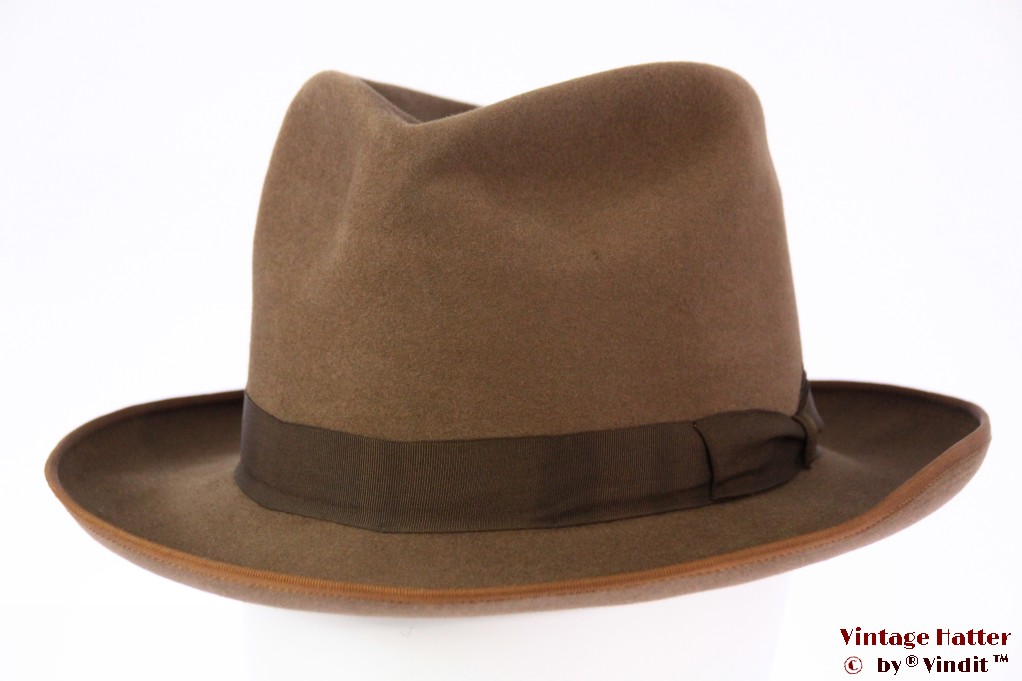Fedora beige brown felt 57
